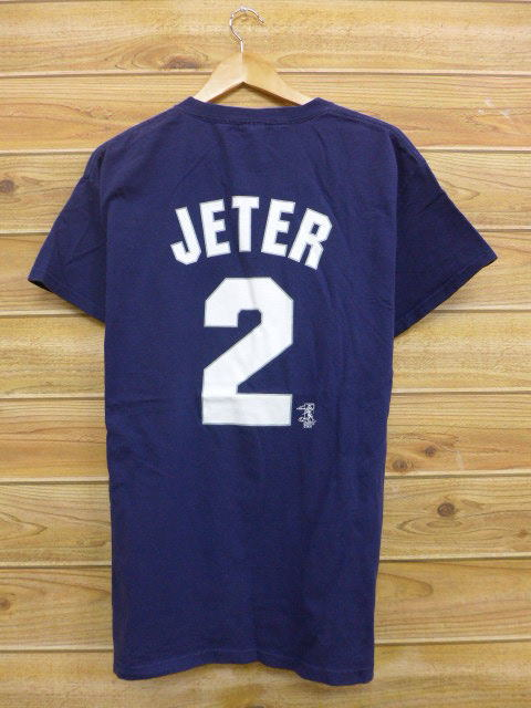 brand new 9aee8 ced95 Old clothes T-shirt MLB New York Yankees Derek Jeter dark blue navy Major  League baseball baseball large size used men short sleeves