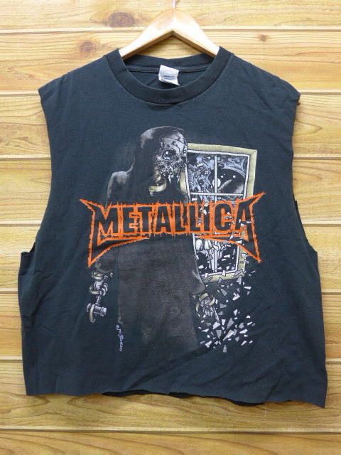 21e30a62 Old clothes no sleeve rock band T-shirt Metallica pass head black black  large size ...