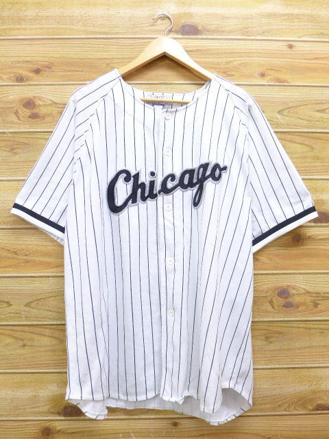 new arrival e9309 c69da Old clothes short sleeves base Bose shirt starter STARTER MLB Chicago White  Sox BELLE big size white white stripe XL size used men tops