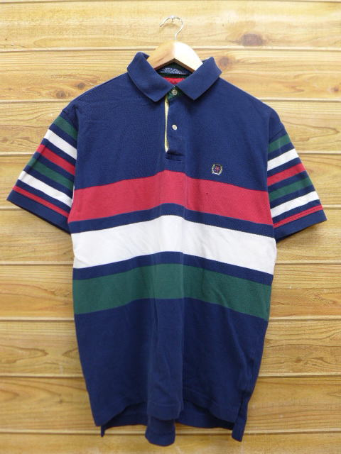 303924f6 Old clothes ポロシャツトミーヒルフィガー TOMMY HILFIGER logo dark blue navy horizontal  stripe large size used ...