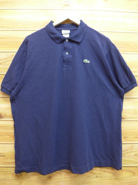 817e7791 Old clothes polo shirt Lacoste LACOSTE logo big size dark blue navy XL size  used men short sleeves tops