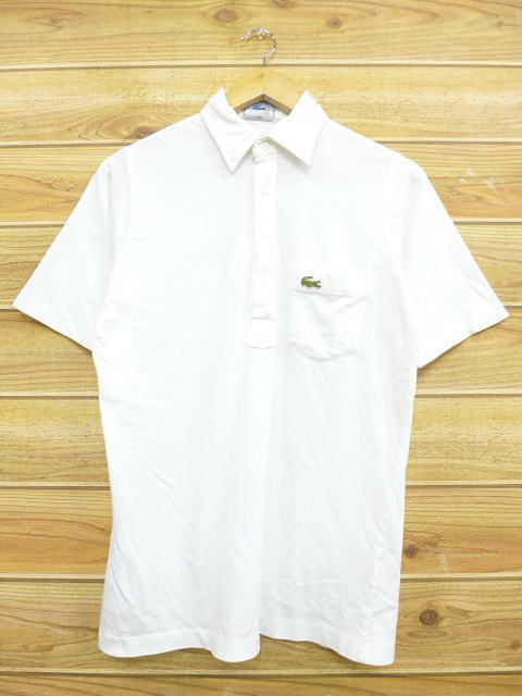 f97583c7 Old clothes polo shirt Lacoste LACOSTE logo white white medium size used  men short sleeves tops