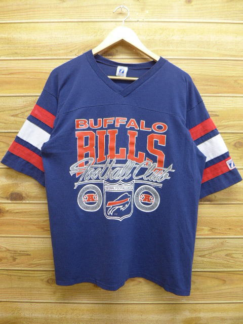RUSHOUT  Old clothes vintage football T-shirt NFL Buffalo Bills dark ... 7ed474d50cca