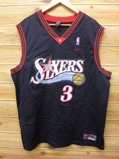 c856adbfae1 Old clothes tank top Nike NBA Philadelphia 76ers 76ERS Allen Iverson big  size black black uniform ...