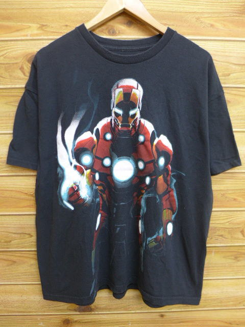 ea7f4966 Old clothes T-shirt Ma Bell iron man big size black black XL size used ...