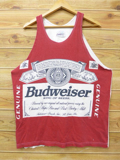 4cb8bd8f232182 RUSHOUT  Old clothes vintage tank top Budweiser beer red red XL size ...