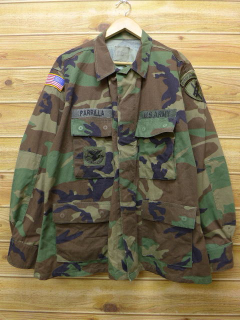 e97d58471d2 Old clothes military jacket US army combat Woodland duck camouflage XL size  used men outer flight ...