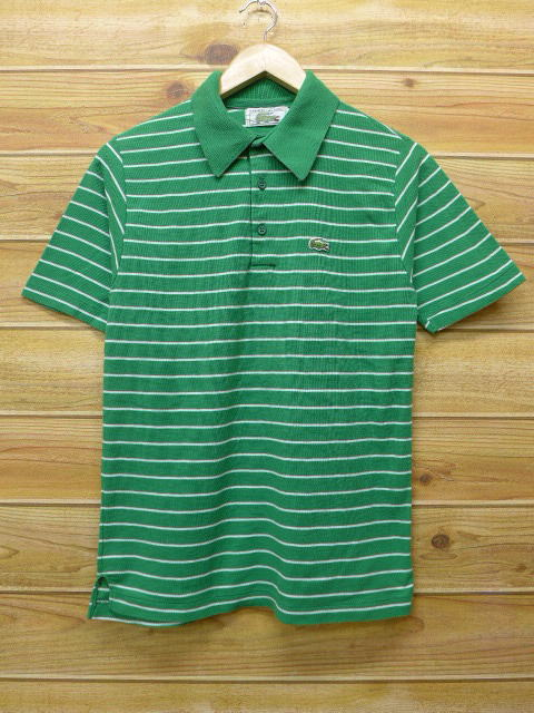 334d76b8 Old clothes polo shirt Lacoste LACOSTE green green horizontal stripe small  size used men short sleeves tops