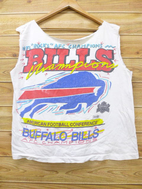 huge discount 15a76 19552 It is summer clothing summer clothes | in the summer in the old clothes no  sleeve vintage T-shirt NFL Buffalo Bills white white American football ...