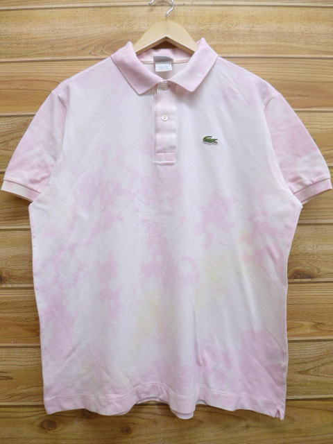 reputable site 509b9 f1d3a Old clothes brand polo shirt Lacoste LACOSTE logo pink tie-dyeing XL size  big size 2L LL big silhouette big size over size men spring and summer ...