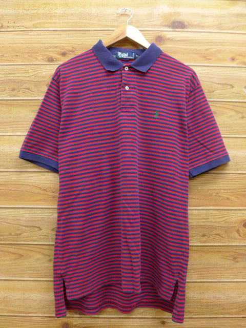 9a410bc5 Old clothes polo shirt Ralph Lauren Ralph Lauren logo red red horizontal  stripe XL size used ...