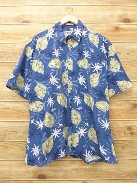 f784d754 Old clothes Hawaii Ann shirt palm tree leaf dark blue system navy XL size  used men ...