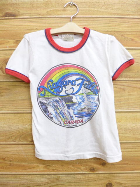 102f8a227ac7a Old clothes kids children's clothes vintage T-shirt Canada Niagara Falls  white white ringer ...