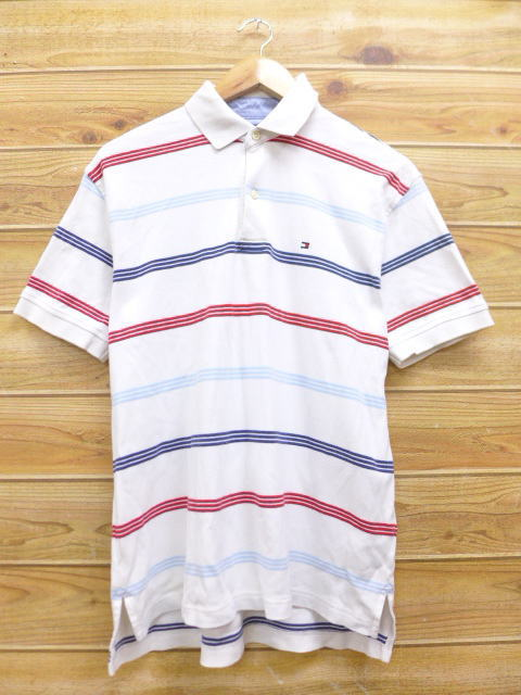 a2d37c8b Old clothes ポロシャツトミーヒルフィガー TOMMY HILFIGER logo white white horizontal  stripe large size used men ...