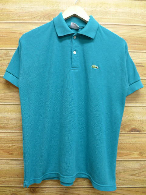 d9c41024 Old clothes polo shirt Lacoste LACOSTE logo bluish green large size used  men short sleeves tops