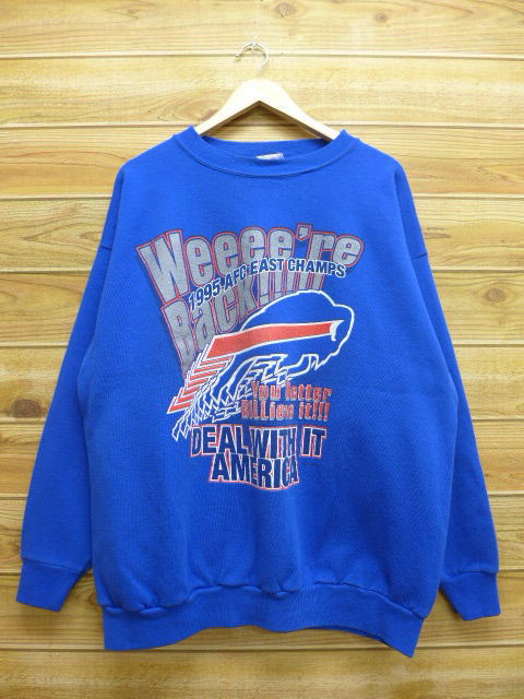 new styles 25fa8 43462 Old clothes sweat shirt NFL Buffalo Bills big size blue blue XL size used  men long sleeves sweat shirt trainer tops