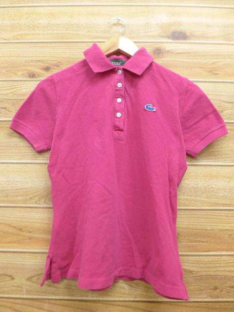 8c352301a Old clothes Lady s polo shirt Lacoste LACOSTE logo pink used blouse tops ...