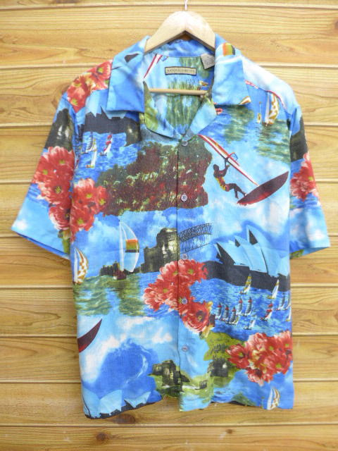 bdbb2975d Old clothes Hawaii Ann shirt yacht flower photoprint light blue XL size  used men short sleeves ...