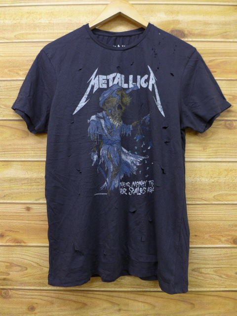 4a9f1e37 Old clothes rock band T-shirt Metallica pass head black black large size  used men ...