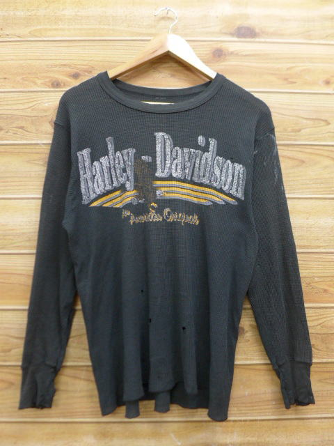 c250d1dd Old clothes long sleeves vintage thermal T-shirt Harley-Davidson Harley  Davidson black black ...