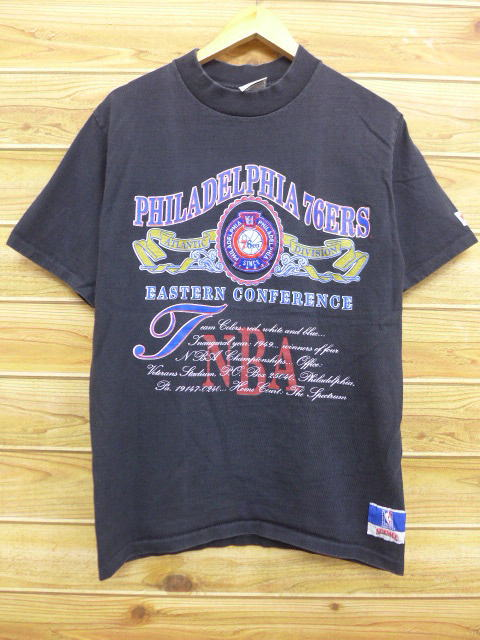 8e00534d7 Old clothes vintage T-shirt NBA Philadelphia 76ers 76ers black black  basketball medium size used ...