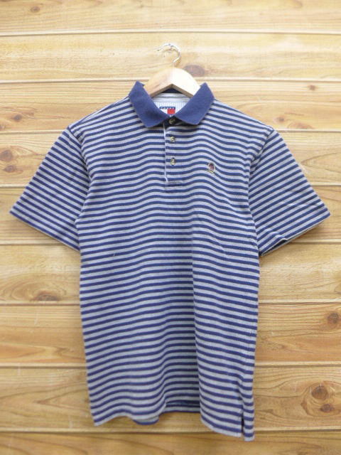 39ea6126 Old clothes ポロシャツトミーヒルフィガー TOMMY HILFIGER logo dark blue navy horizontal  stripe used blouse tops ...