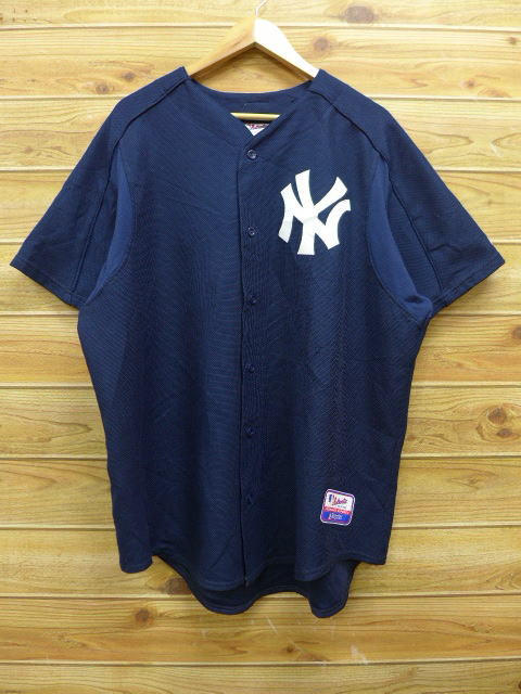 huge discount 45cfb eca8b Old clothes short sleeves baseball shirt majestic MLB New York Yankees big  size dark blue navy uniform XL size used men tops