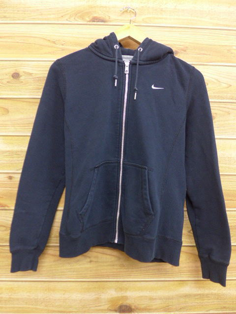 Parka Clothes Sweat Shirt Used Nike Tops Old Full Black Sleeves Long Trainer Logo Zip Size Men Small XTxddq