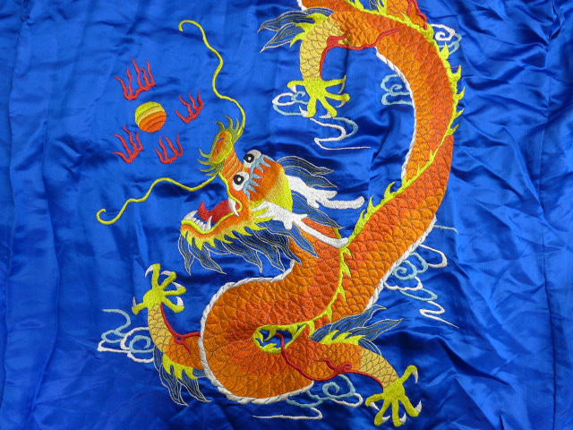 Old clothes gown dragon dragon embroidery silk long length blue blue XL  size used men outer