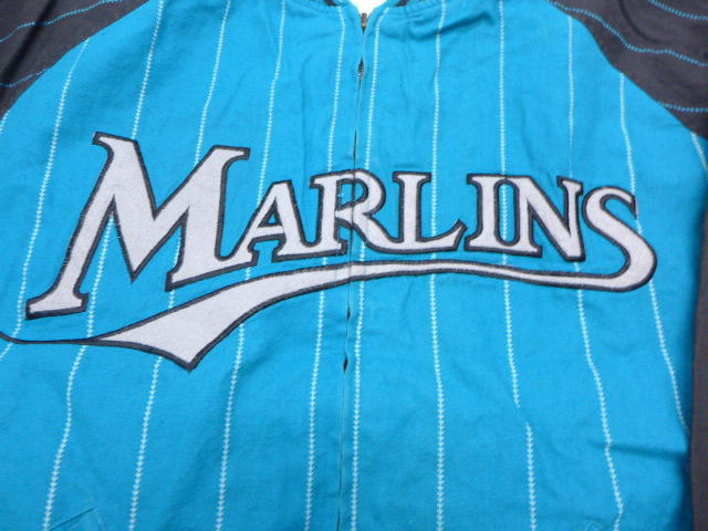 c4a99fc762e Old clothes baseball jacket MLB Florida Marlins bluish green stripe XL size  used men outer jacket blouson