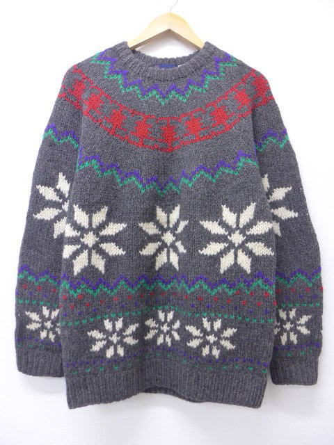 f56ae4807 RUSHOUT  Old clothes Nordic events sweater snow pattern wool gray ...