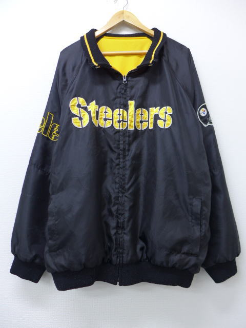 buy online 82f76 353f9 Old clothes jacket American football NFL Pittsburgh Steelers reversible big  size black black XL size used men outer jacket blouson