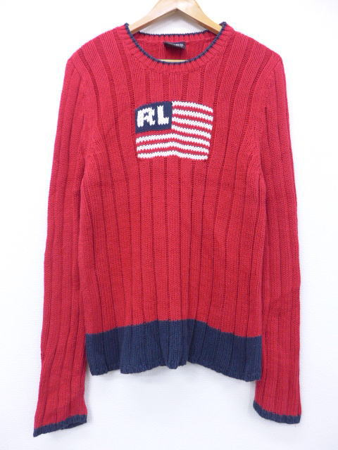 5f15c32bb Old clothes sweater Ralph Lauren Ralph Lauren cotton red red small size  used men knit tops ...