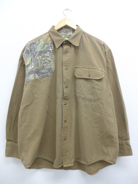 96ff2e68c Old clothes long sleeves hunting shirt wall RAS camouflage big size duck  place tea brown XL size used men tops