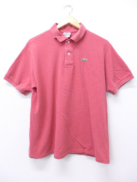f38a9d0c Old clothes polo shirt Lacoste LACOSTE logo red system red XL size used men  short sleeves tops