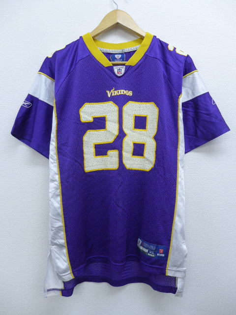 sneakers for cheap 0636a 5882c Old clothes football T-shirt Reebok REEBOK NFL Minnesota Vikings Adrian  Peterson 28 purple purple American football Super Bowl large size used men