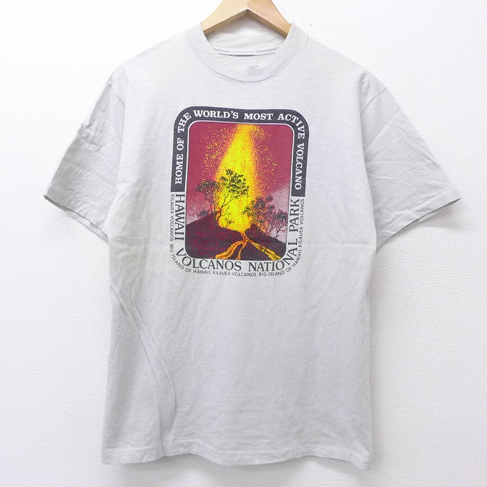 古着 半袖 ビンテージ Tシャツ 80年代 80s ハワイ 火山 クルーネック ふるさと割 薄グレー 20jul16 中古 オーバーのアイテム取扱☆ メンズ ヴィンテージTシャツ カットソー 丸首 0OF Lサイズ 半袖ティーシ 夏物 ティシャツ 半袖Tシャツ メンズファッション ティーシャツ メンズTシャツ 春夏 夏服