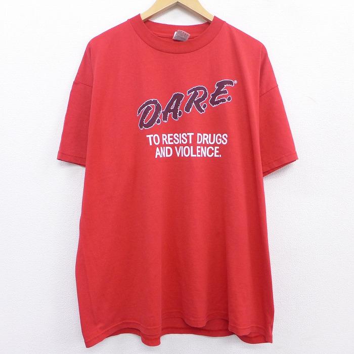 古着 半袖 ビンテージ Tシャツ 00年代 00s D.A.R.E. 大きいサイズ クルーネック 赤 21may20 中古 メンズ 送料無料でお届けします ヴィンテージTシャツ 春夏 カ オーバーサイズ ビッグシルエット ゆったり 2L メンズファッション レッド ビッグサイズ 夏物 推奨 夏服 XLサイズ 丸首 LL