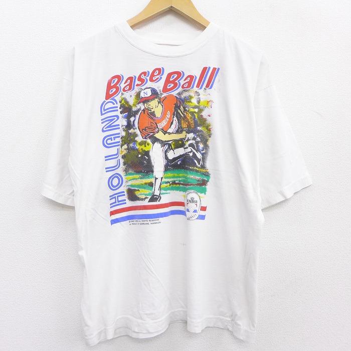 古着 半袖 ビンテージ Tシャツ メンズ 早割クーポン 90年代 90s KNBSB オランダ王立野球ソフトボール協会 クルーネック 授与 白 21jun08 中古 ティーシャツ 夏物 ヴィンテージTシャツ ホワイト 春夏 カットソー 丸首 Lサイズ メンズファッション ティシャツ メンズTシ 夏服