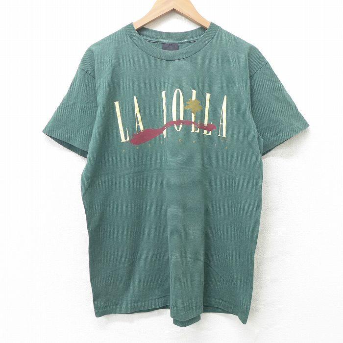 古着 半袖 ビンテージ Tシャツ メンズ 90年代 90s LA JOLLA カリフォルニア クルーネック 格安 価格でご提供いたします USA製 緑 ボーダー 21jun30 丸首 ティシャ アメリカ製 ヴィンテージTシャツ 夏物 正規品 春夏 中古 夏服 ティーシャツ グリーン Lサイズ カットソー メンズファッション