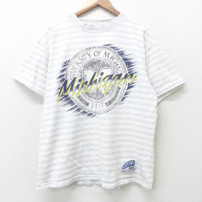 古着 半袖 ビンテージ Tシャツ メンズ 90年代 90s ミシガン コットン クルーネック USA製 白他 販売 ボーダー 21jul09 特価キャンペーン カットソー ホワイト 中古 夏服 ティーシャツ アメリカ製 メ 丸首 夏物 Lサイズ ヴィンテージTシャツ ティシャツ 春夏 メンズファッション