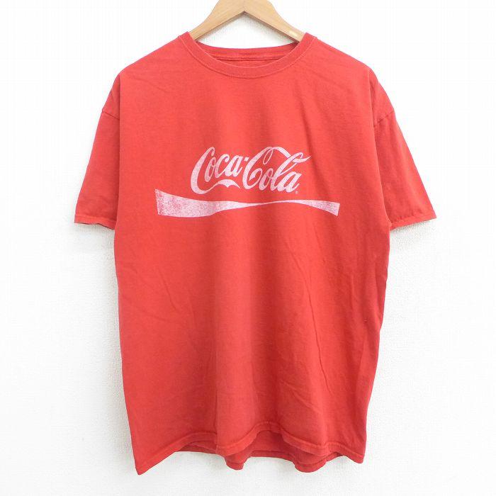 古着 半袖 Tシャツ メンズ コカコーラ クルーネック 記念日 赤 丸首 中古メンズ半袖プリントキャラクター 中古 特別セール品 レッド 半袖Tシャツ XLサイズ 21jul19