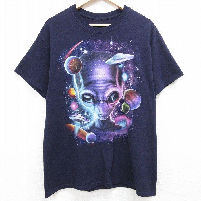 古着 半袖 Tシャツ メンズ 宇宙人 UFO クルーネック 紫 丸首 パープル 期間限定お試し価格 お得 中古メンズ半袖プリントキャラクター 半袖Tシャツ 中古 21jul23 Lサイズ 霜降り