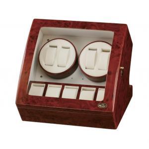 送料無料 自動巻き時計をお持ちの方必見のアイテム 自動巻腕時計4本巻き5本収納 木製ワインディングマシーン 木製ワインディングマシン ウォッチワインダー RWライトウッド 安い 卓抜 LU20003 RDダークウッド