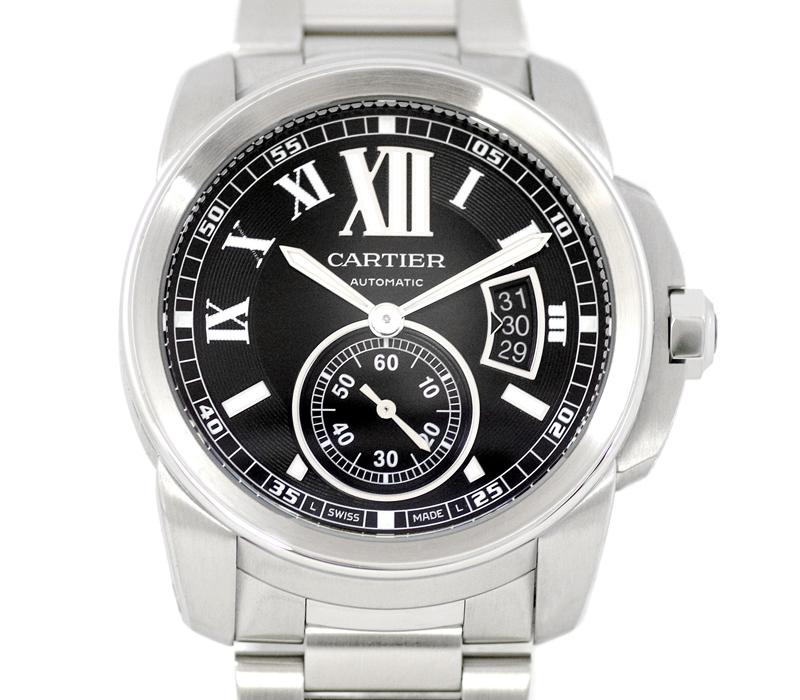 メンテナンス済み Cartier カルティエ カリブル ドゥ カルティエ W7100016 黒 ブラック 文字盤 裏スケ SS ステンレス メンズ 自動巻 【腕時計】【中古】
