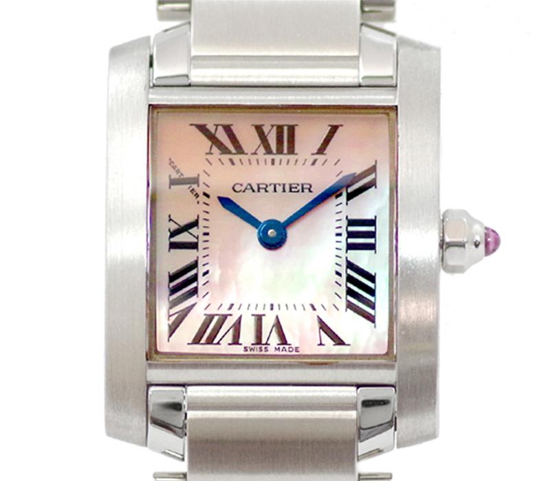電池交換済み Cartier カルティエ タンクフランセーズ SM W51028Q3 ピンクシェル 文字盤 SS ステンレス レディース クォーツ【腕時計】【中古】