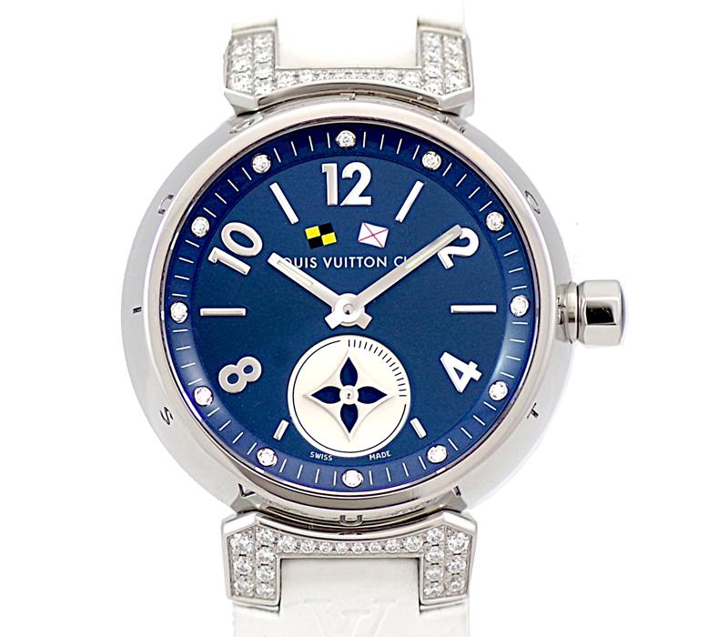 電池交換済 LOUIS VUITTON ルイヴィトン タンブール ラブリーカップ Q12M4 純正ダイヤモンド 12Pダイヤ 青 ネイビー ブルー 文字盤 SS ステンレス 純正ベルト レディース クォーツ 6ヶ月保証腕時計pGzVSqUM