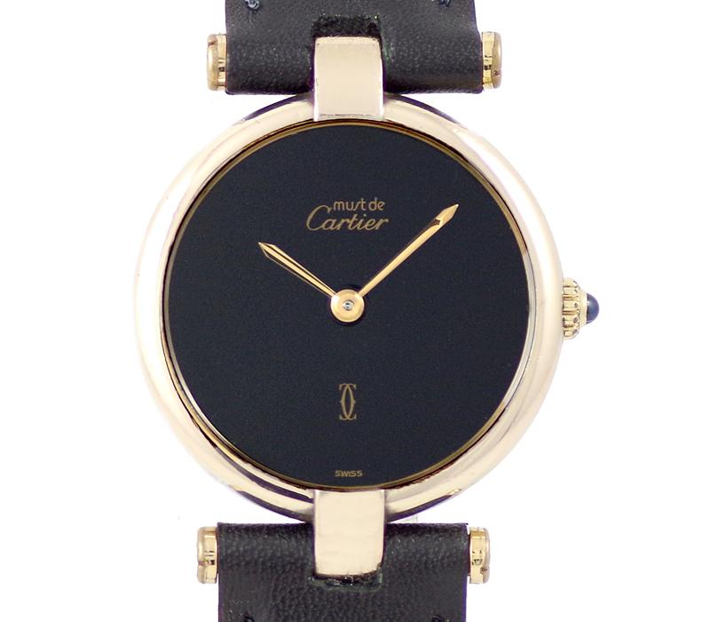 電池交換済み Cartier カルティエ マストヴァンドーム ヴェルメイユ 黒 ブラック 文字盤 SV925 イエローゴールド レディース クォーツ 【6ヶ月保証】【腕時計】【中古】