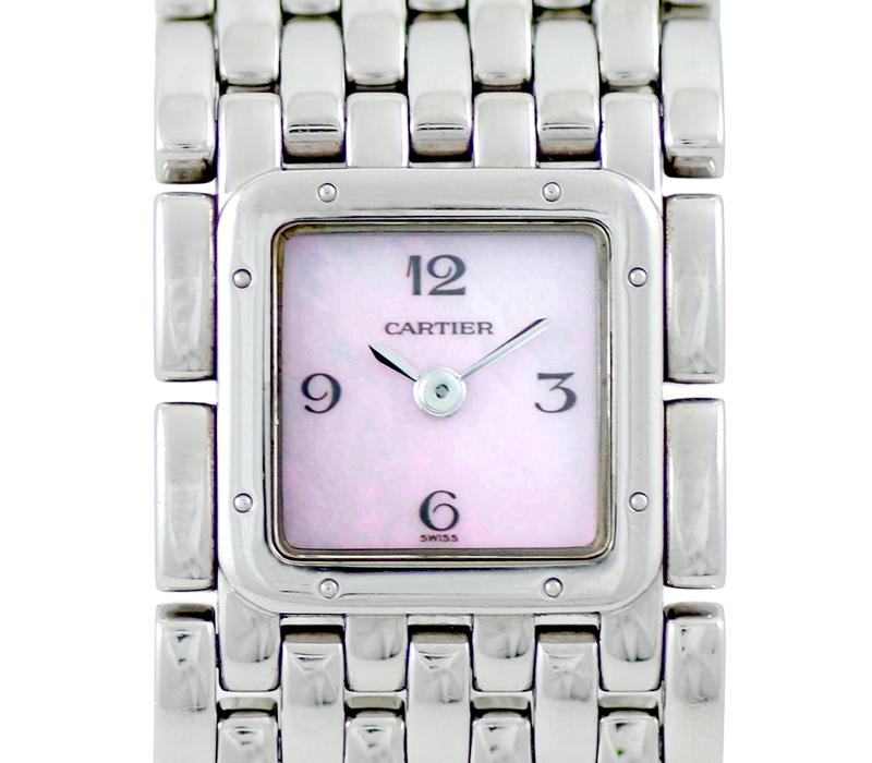 電池交換済 Cartier カルティエ パンテール リュバン 2420 ピンクシェル 文字盤 SS ステンレススチール レディース クォーツ W61003T9【6ヶ月保証】【腕時計】【中古】