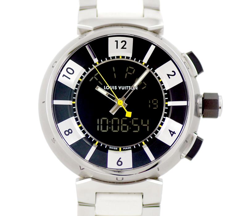 電池交換済 LOUIS VUITTON ルイヴィトン Q118F タンブール インブラック クロノグラフ デジタル アナログ デイト GMT 100m防水 黒 ブラック 文字盤 SS ステンレス 純正メタルベルト メンズ クォーツ Q118F1 腕時計nOkw0PX8